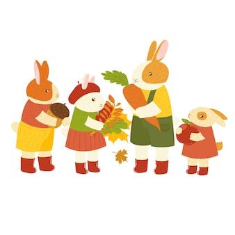 Jesień ładny ręcznie rysowane kreskówka zając królik królik z jesiennymi liśćmi leśne zwierzę