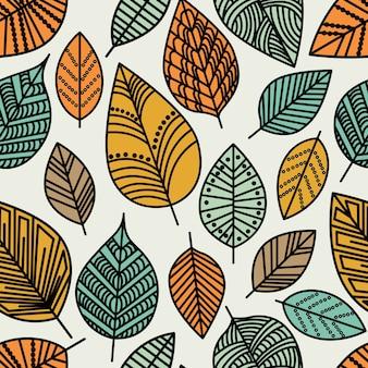 Jesień liść wzór. bezszwowa dekoracyjna tekstura szablonu z liśćmi