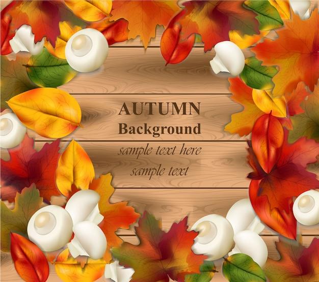 Jesień liście na drewnianym tle. realistyczna wektorowa ilustracja