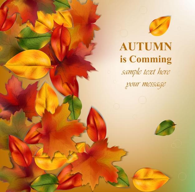 Jesień liście na rozmytym tle. realistyczny wektor ilustracja transparent lub karta plakat