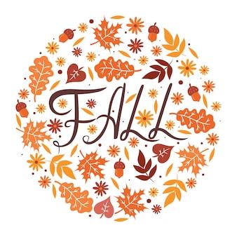 Jesień napis, liście i kwiaty w kole na białym tle. grafika.