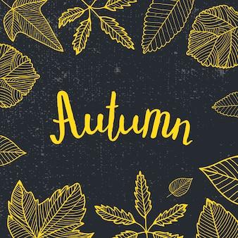 Jesień napis, ręcznie rysowane liście wokół. czarno-żółty, styl tablicy. karta, plakat, afisz