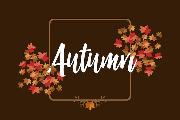 Jesień napis z tle liści klonu