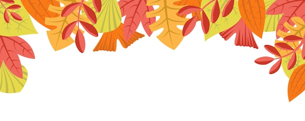 Jesień natura tło z koncepcją wzoru liści poziomy baner internetowy z jesiennymi liśćmi