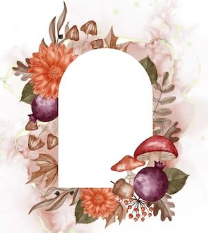 Jesień o tematyce akwarela tło ramki kwiat, liście i grzyb z białą spacją