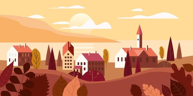 Jesień oceanu krajobrazowi denni budynki, wzgórza i drzew góry jeziora słońce