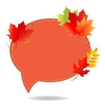 Jesień plakat dymek z kolorowymi liśćmi przezroczyste tło z gradientową siatką