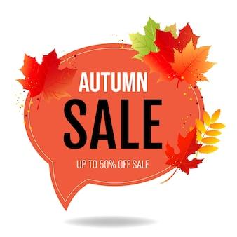 Jesień plakat dymek z kolorowymi liśćmi z siatką gradientu