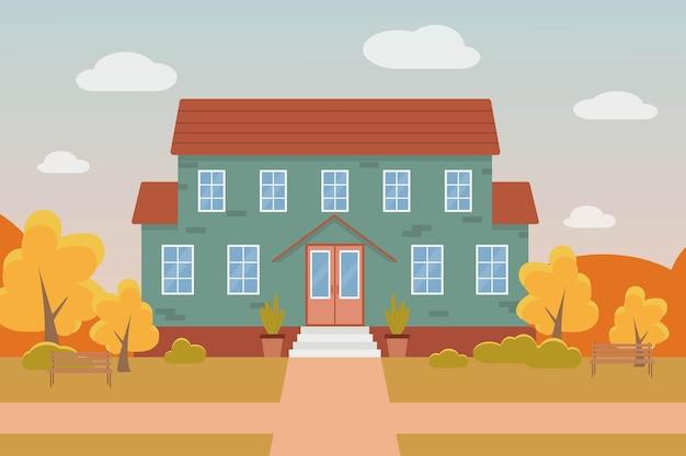 Jesień płaski wektor ilustracja zielonego domu na tle jesiennego krajobrazu