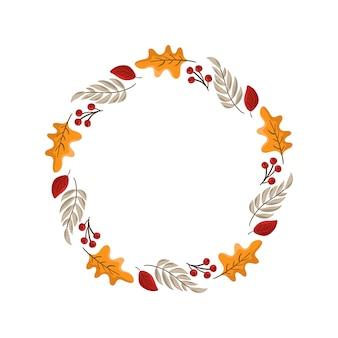 Jesień ramka okrągły wieniec. z liśćmi, owocami i jagodami na święto dziękczynienia.