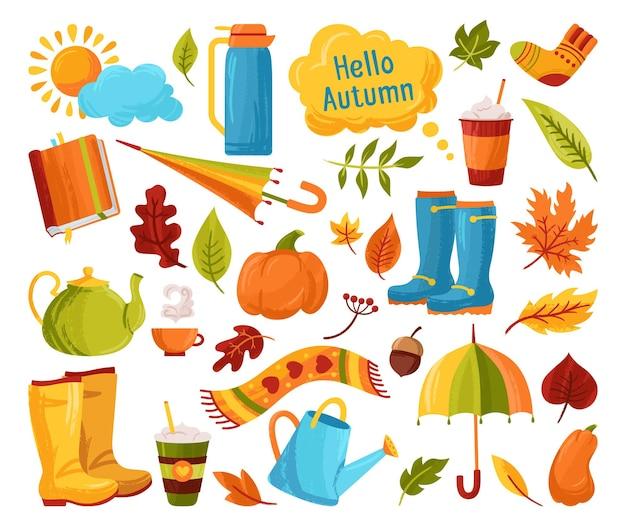 Jesień ręcznie rysowane modny nieczysty tekstury zestaw kreskówek wiejski spadek pozostawić książka kawa parasol doodle kubek naklejki kolekcja pociągnięcia pędzlem atramentem czajnik dynia jesień brudne pędzle karta clipart