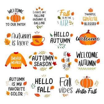 Jesień ręcznie rysowane napis zestaw. jesienne frazy z hasłem naklejek z projektem pakietu.