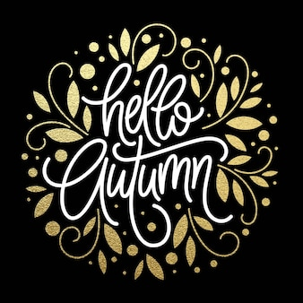 Jesień - ręcznie rysowane wektor typografii z wzorem liści linii w kolorze złotym brokatem. ilustracja wektorowa eps10