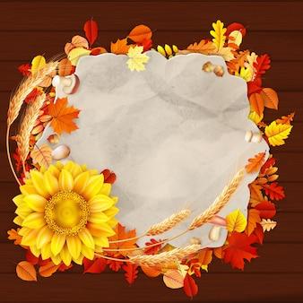 Jesień rocznika kartkę z życzeniami na przestrzeni kopii w tle kolorowych liści.