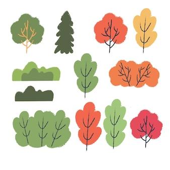 Jesień różnych kolorowych drzew i krzewów. wektor zestaw clipartów.