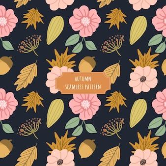 Jesień różowy żółty kwiatowy wzór