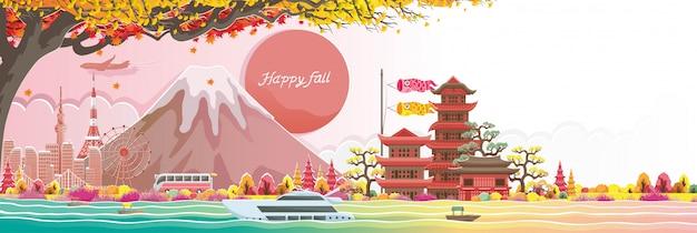 Jesień seson w japan. szczęśliwy upadek. budynek w stylu japońskim. tłumaczenie: witamy w japonii.