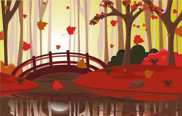 Jesień sezon jesienny wieś rzeka most natura krajobraz ilustracja