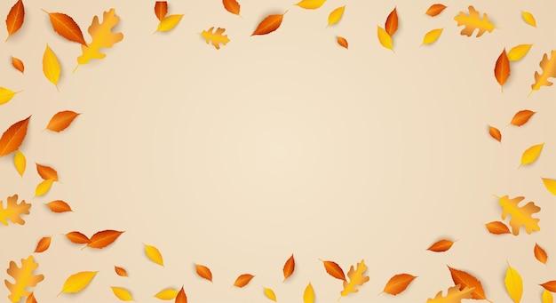 Jesień sezonowa świąteczna ramka tła z opadającymi jesiennymi liśćmi skopiuj przestrzeń kolorowy liść dębu