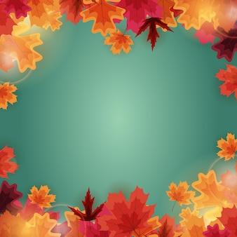 Jesień szablon tło naturalne z opadających liści.