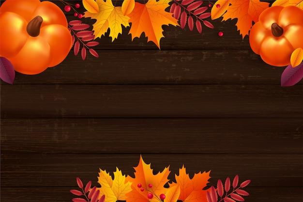 Jesień tło z liśćmi i bani