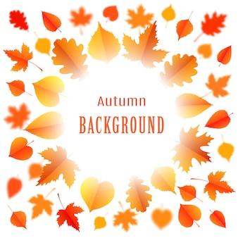 Jesień tło z liśćmi. plakat, karta, etykieta, projekt banera. ilustracja