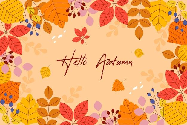 Jesień tło z liśćmi