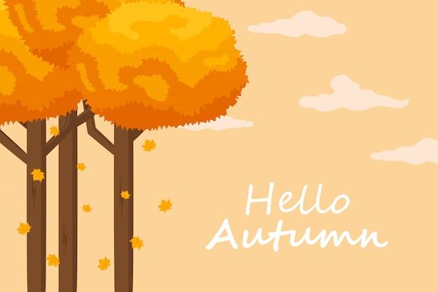 Jesień tło z ręcznie rysowane jesień tekst i liście wokół niego. ilustracji wektorowych