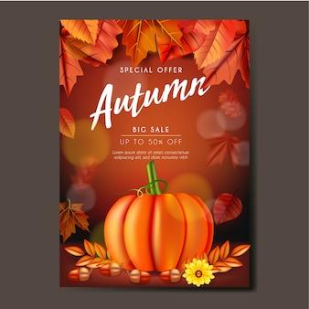 Jesień ulotki lub baner szablon projektu z liści, dyni