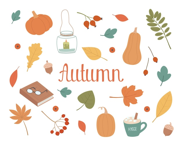Jesień ustawić słodkie elementy na jesienny projekt wektor ręcznie rysowane ilustracji