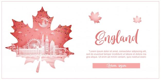 Jesień w anglii z koncepcją sezonu na pocztówkę podróżną, plakat, reklamę wycieczki