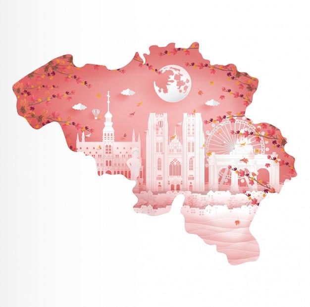 Jesień w belgii z koncepcją mapy i opadającym klonem urlopu w sezonie jesień pocztówka podróży, plakat, reklama tour
