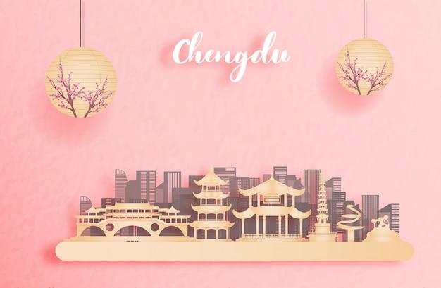 Jesień w chengdu, chiny z latarnią w stylu chińskim. ilustracja cięcia papieru
