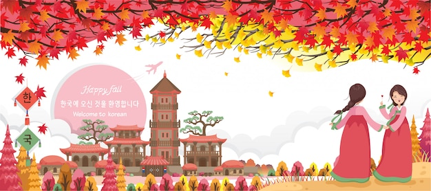 Jesień w koreańskich zabytkach korei. koreański plakat podróżny i pocztówka. koreański