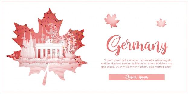 Jesień w niemczech z koncepcją sezonu na pocztówkę podróżną, plakat, reklamę wycieczki