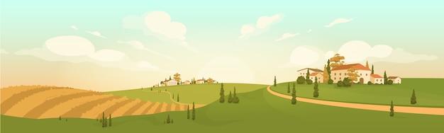 Jesień w wiosce na wzgórzu ilustracja kolor. krajobraz kreskówka luksusowych włoskich willi. krajobraz toskanii. europejska wieś. scena pól uprawnych. okres żniw. pole rolnicze