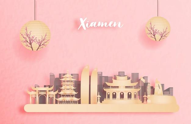 Jesień w xiamen w chinach z latarnią w stylu chińskim. ilustracja cięcia papieru