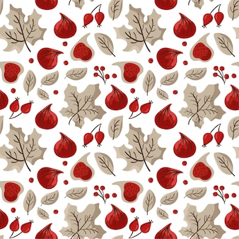 Jesień wzór owoców figi, jagód i liści klonu.