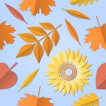 Jesień wzór z liści, liści, upadek, słonecznik.