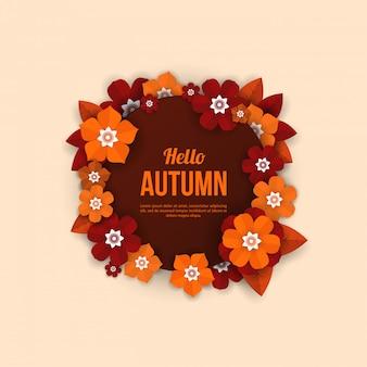 Jesień zaokrąglona rama z elementami kwiatów w stylu cięcia papieru