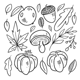 Jesień zestaw elementów żywności kolor czarny grafika liniowa ręcznie rysowane szkic doodle