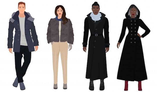 Jesień zima mody stylowi ludzie