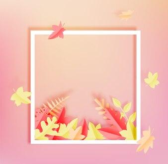 Jesienią ramki i puste miejsce klon pozostawia styl sztuki papieru