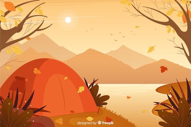 Jesieni dekoracyjnego tła płaski projekt