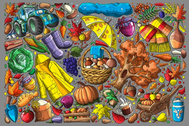 Jesieni doodle ustalona wektorowa ilustracja