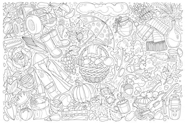 Jesieni doodle ustalony ilustracyjny tło