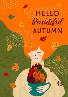 Jesieni ilustracja z śliczną kobietą