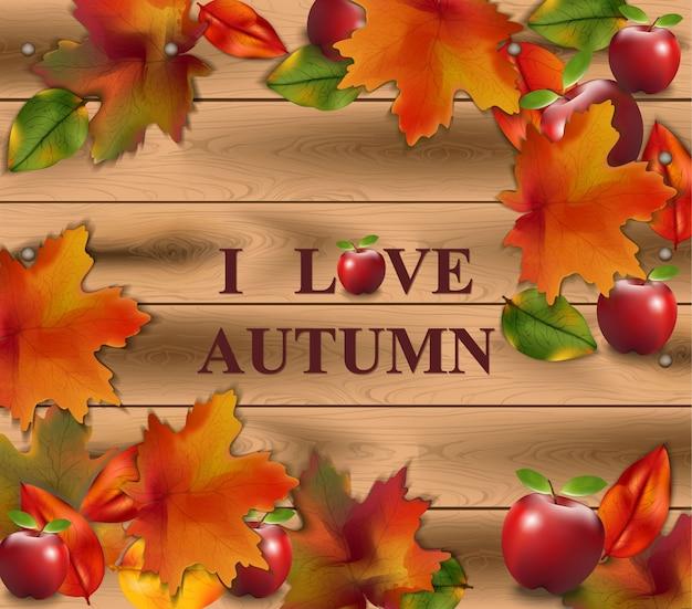 Jesieni karta opuszcza na drewnianym tle. realistyczne ilustracje wektorowe