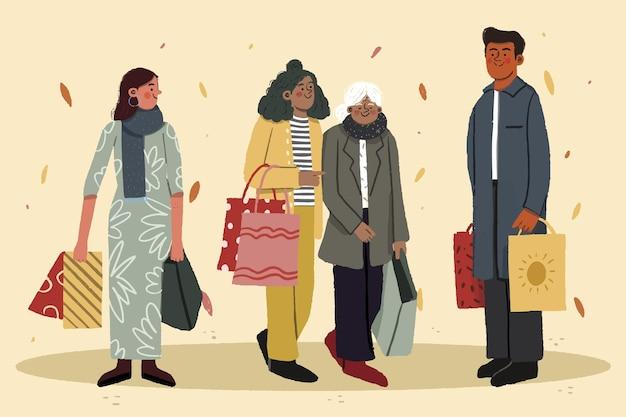 Jesieni ludzie robią zakupy ilustracja