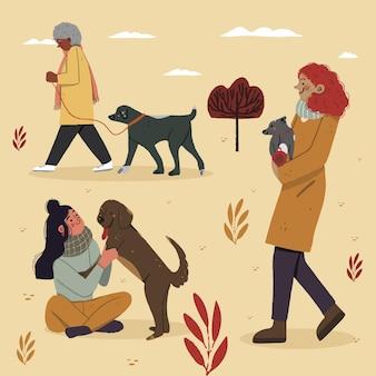 Jesieni Ludzie Z Ilustracjami Zwierząt Domowych Darmowych Wektorów